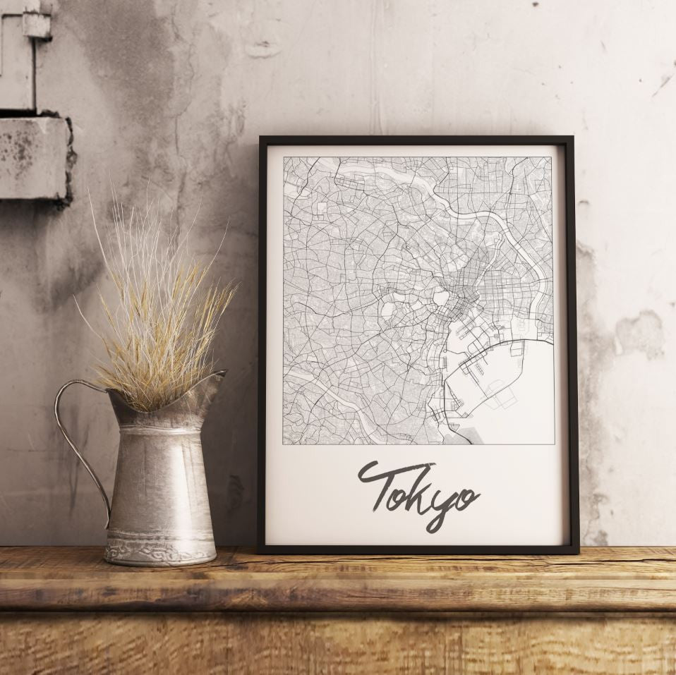 Custom Map Art. Cursive Minimal Style. Personalised Map Print.