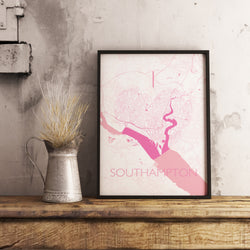 Custom Map Art. I Heart Style. Personalised Map Print.
