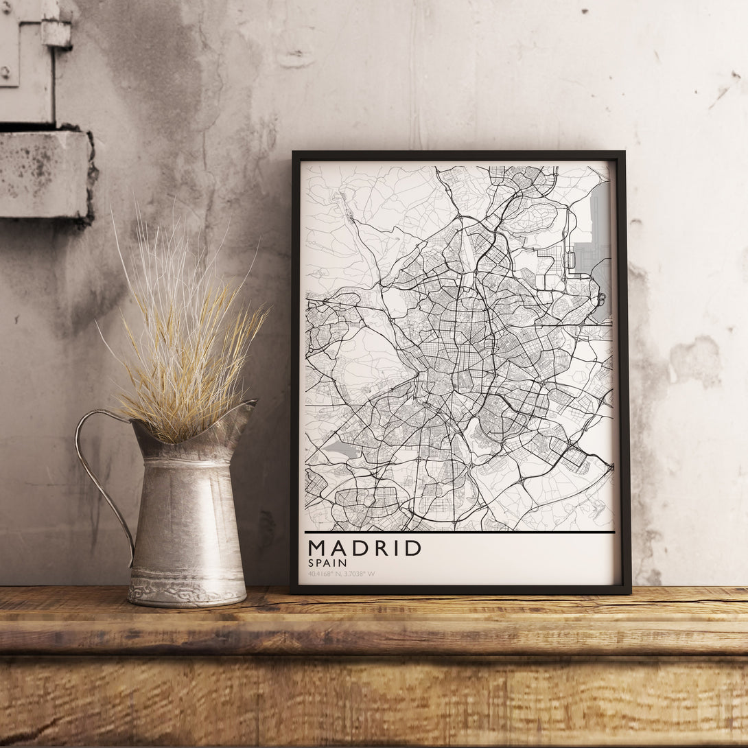 Madrid Map Print. Minimalism Style.
