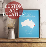 Custom Map Art. Heart Location Style. Personalised Map Print. Wedding Gift.