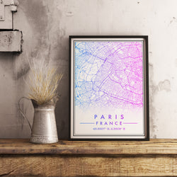 Custom Map Art. Classic Gradient Style. Personalised Map Print.