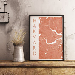 Boston Harvard Map Print. Portrait Style.