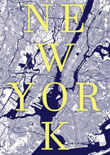 New York Map Print. Modern Typographic Style.