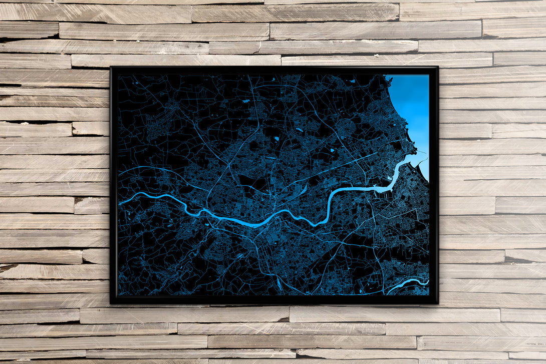 Newcastle  Map Print. Minimal Mono Style.