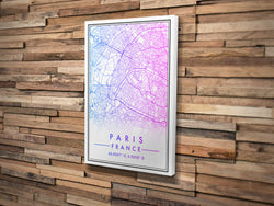 Canvas Print. Classic Gradient Style. Personalised Map Print.
