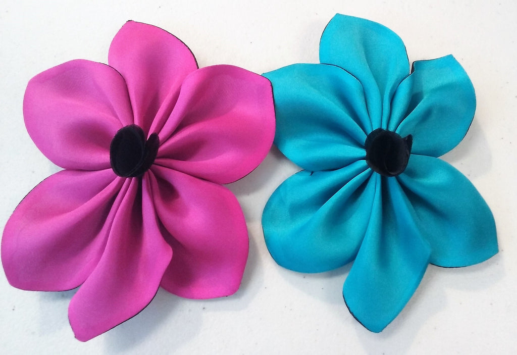Pink and Blue Satin faced organza flower pin with  fabric center; measurements: