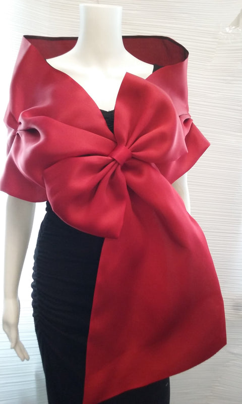 Red Evening Wrap With Bow