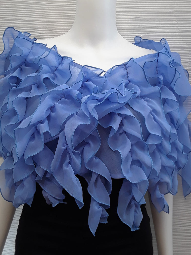 Multi Ruffle Chiffon Evening Wrap