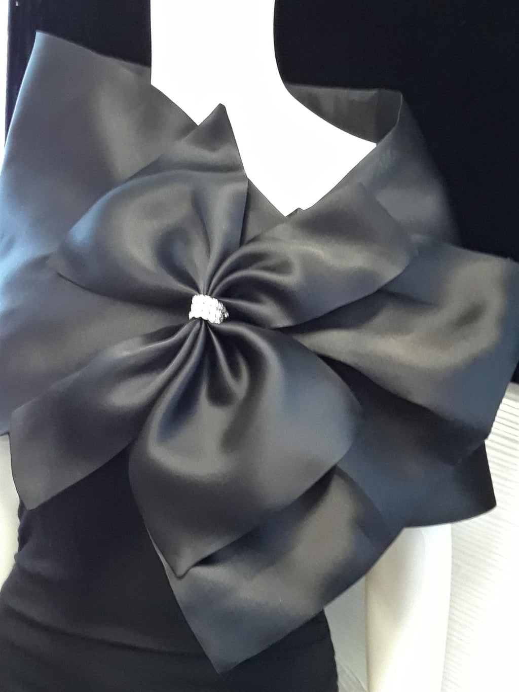 Black Evening Wrap with Bow