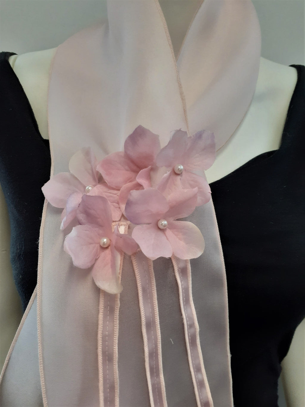Pink Scarf with Flowers