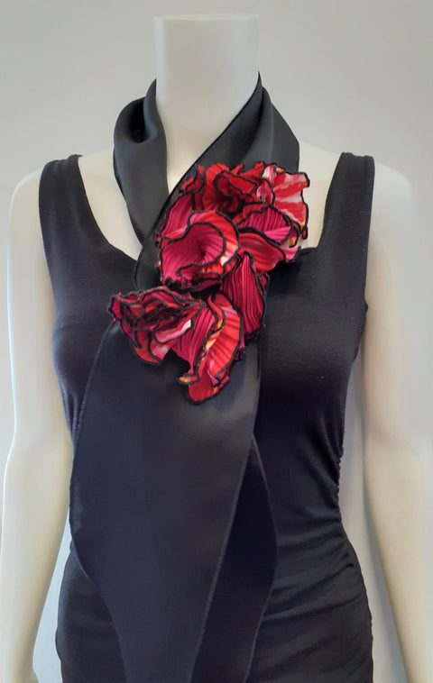 Scarf with Red Flowers