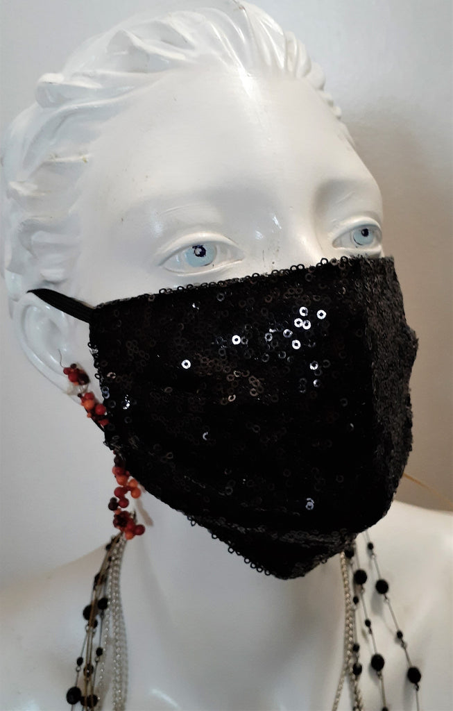 Black Sequined Face Cover