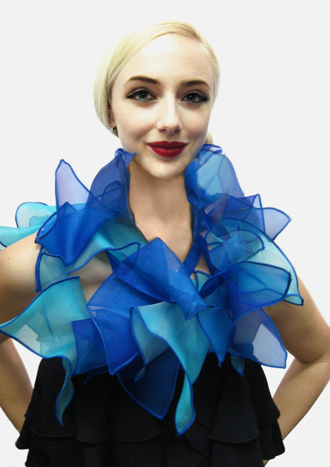 "Blue Metallic silk organza two tone triangles on 60"" long strap. May be worn long or short scarf"