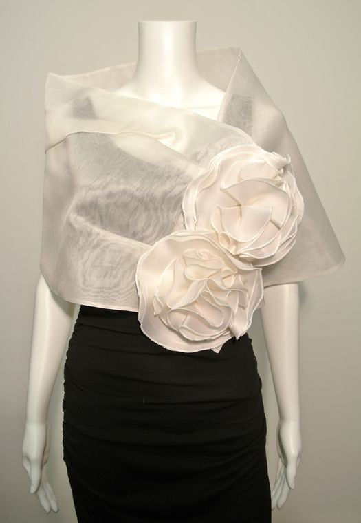 Bridal Wrap with Metallic silk organza with satin faced organza flowers; snap closure,
