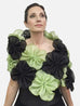 This is a black and green metallic silk organza flower wrap made of 64 individual pieces that are then attached to form this beautiful evening wrap.