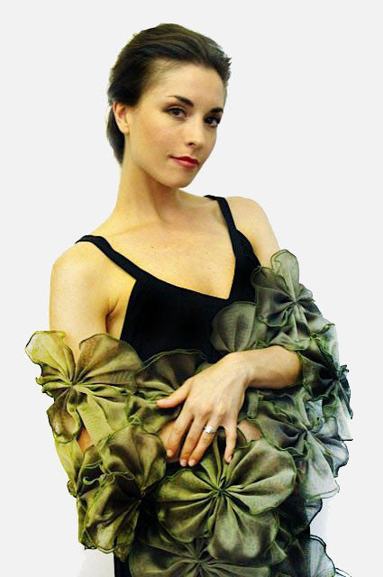 Green and yellow  Metallic silk organza wrap made of attached flowers providing an opening for the arms;
