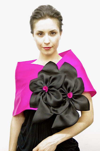 Pink, Fuchsia and BlackThis is a 100% silk evening wrap made of satin faced organza that features two large flowers. Bold and dramatic,