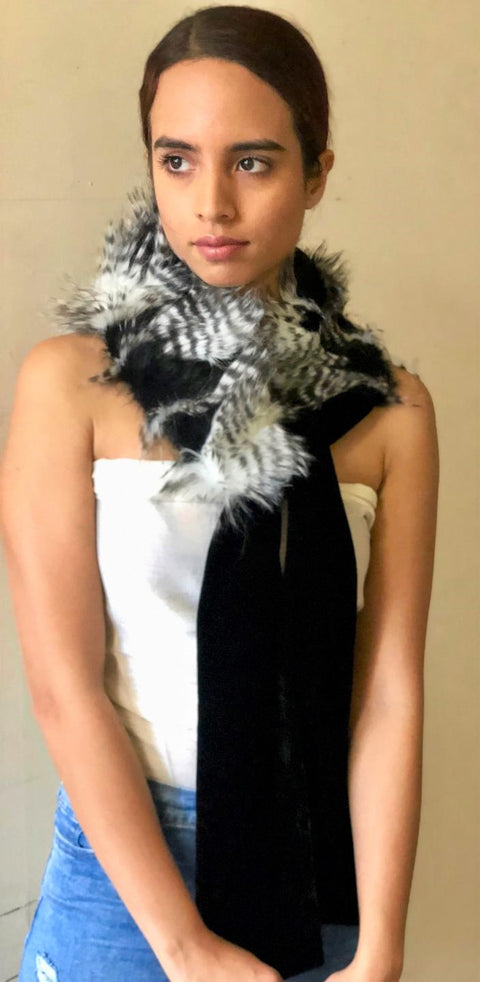 Faux Fur Neck Piece with Ties