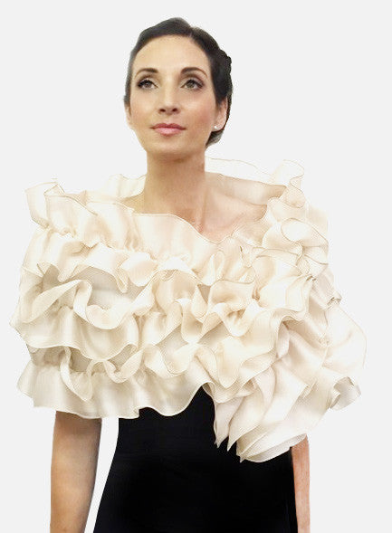 3 Tier Rouched evening wrap Satin faced organza with 3 tiered ruffle, snap closure