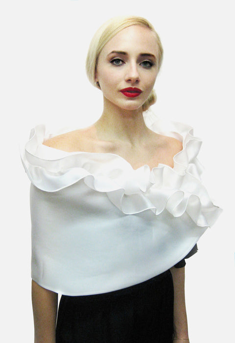 White Satin faced organza wrap with top ruffle and snap closure