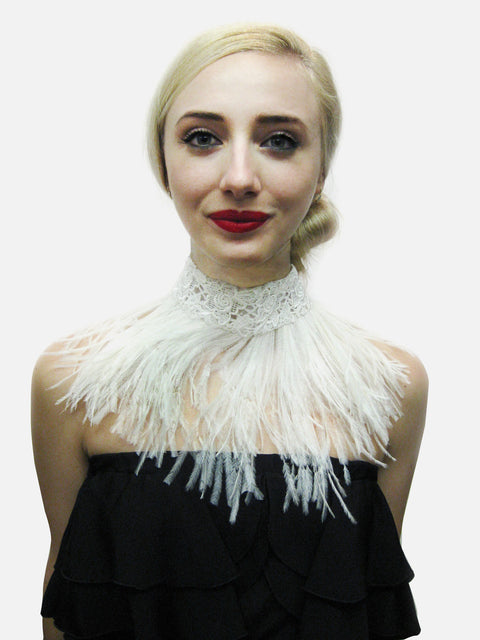 "White Lace and ostrich feather choker with snap closure.  Measurements: 18"" x 2"" lace and 5"" feather fringe."