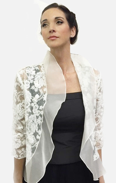 White Lace and silk organza bridal jacket with appliqués and rouched 3/4 sleeves.  Available in white or cream.