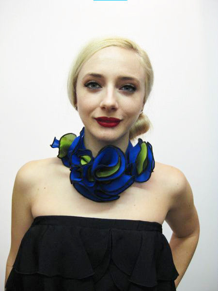 Black band choker with flowers in two colors - royal blue and green, all in satin faced organza; snap closure.