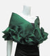 "This elegant green, satin organza evening wrap can be made with a snap closure or with ties, depending on preference. It measures 50"" x 15"" and can be customized for larger sizes. A beautiful addition to any woman's wardrobe, it features a rouched double ruffle at the bottom. This luxurious piece is the perfect cover up for an evening dress or gown."