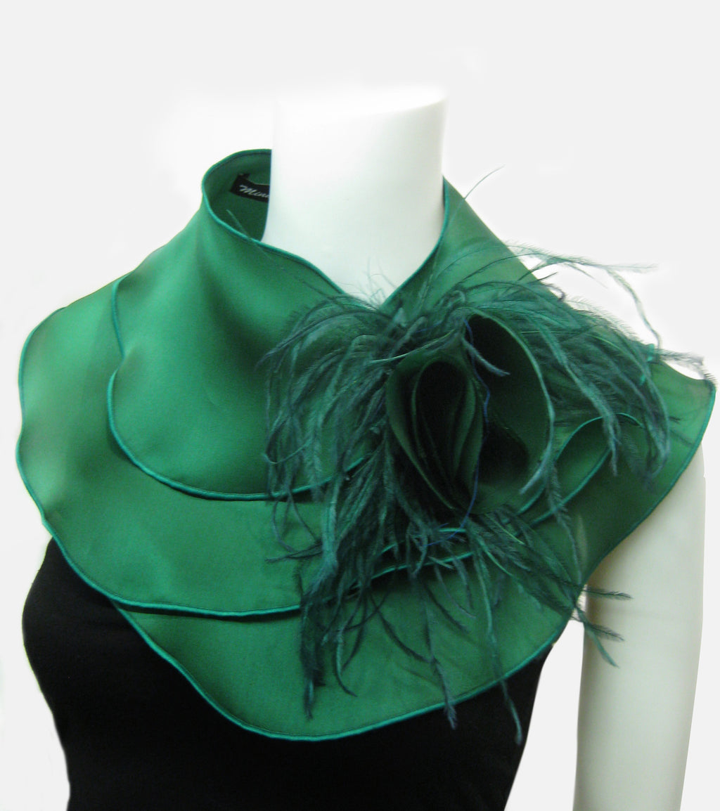 Silk Collar with Ostrich Feathers