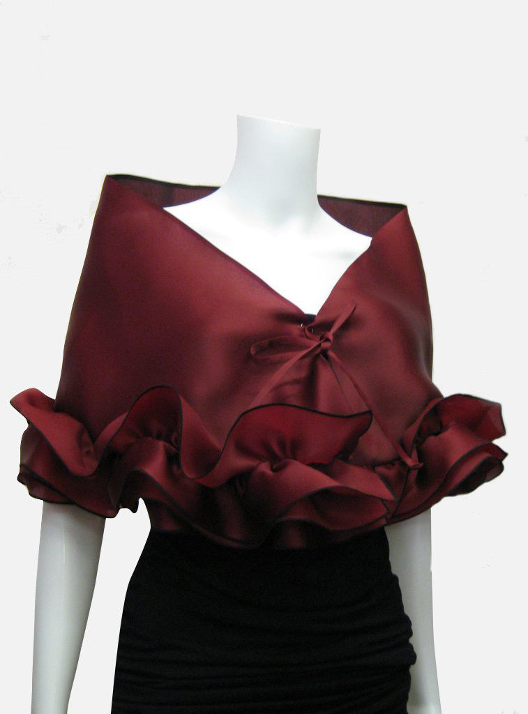 b8e35f38ffe1 ... This red burgundy elegant, satin organza evening wrap can be made with  a snap closure ...