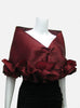 "This red burgundy elegant, satin organza evening wrap can be made with a snap closure or with ties, depending on preference. It measures 50"" x 15"" and can be customized for larger sizes. A beautiful addition to any woman's wardrobe, it features a rouched double ruffle at the bottom. This luxurious piece is the perfect cover up for an evening dress or gown."