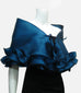 "This blue elegant, satin organza evening wrap can be made with a snap closure or with ties, depending on preference. It measures 50"" x 15"" and can be customized for larger sizes. A beautiful addition to any woman's wardrobe, it features a rouched double ruffle at the bottom. This luxurious piece is the perfect cover up for an evening dress or gown."