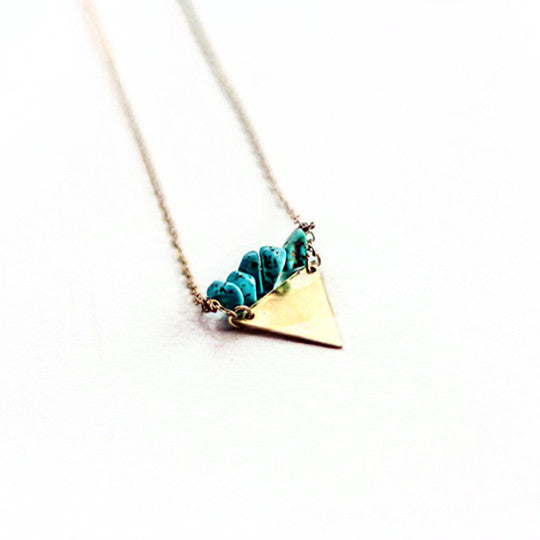 Turquoise and Triangle Boho Necklace