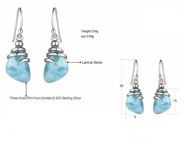 Sky Blue Larimar Tear Drop Earrings