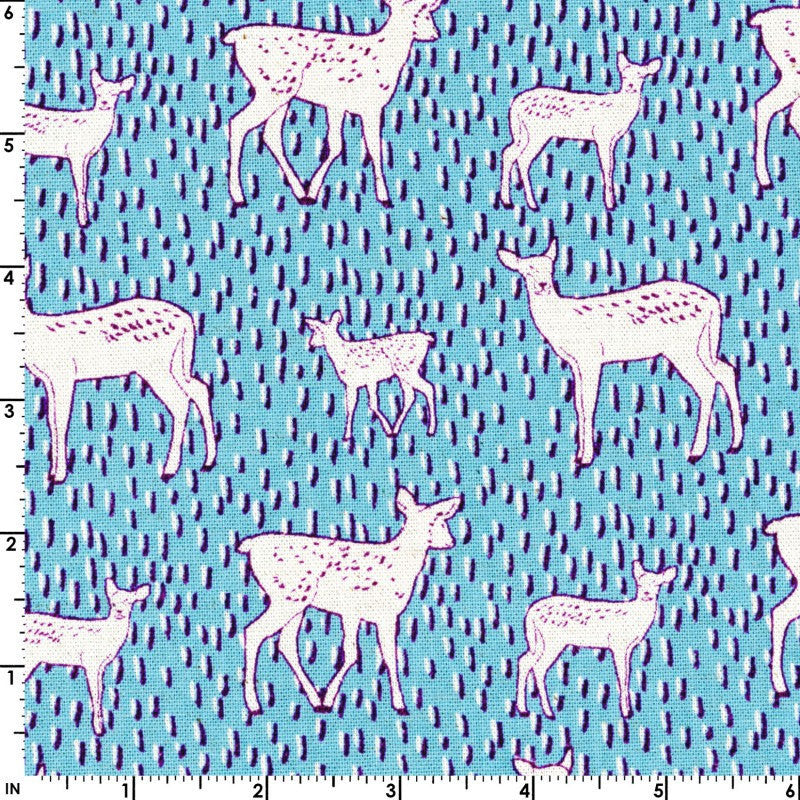 Deer on blue canvas from Kokka Fabric - view 1