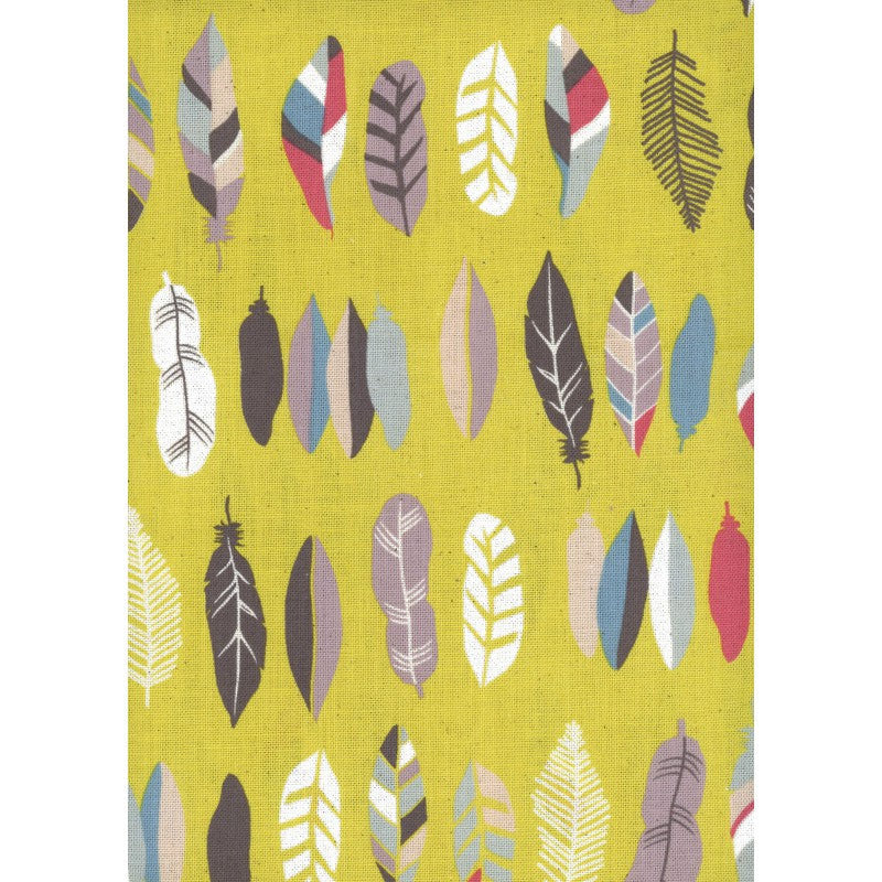 Feathers on yellow canvas from Kokka Fabrics - view 2