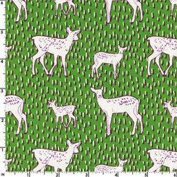 Deer & Fawn Green Canvas | Kokka Japan Import Fabric | Woodland Print | Forest