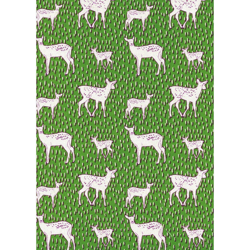 Deer on green canvas from Kokka Fabric - view 2