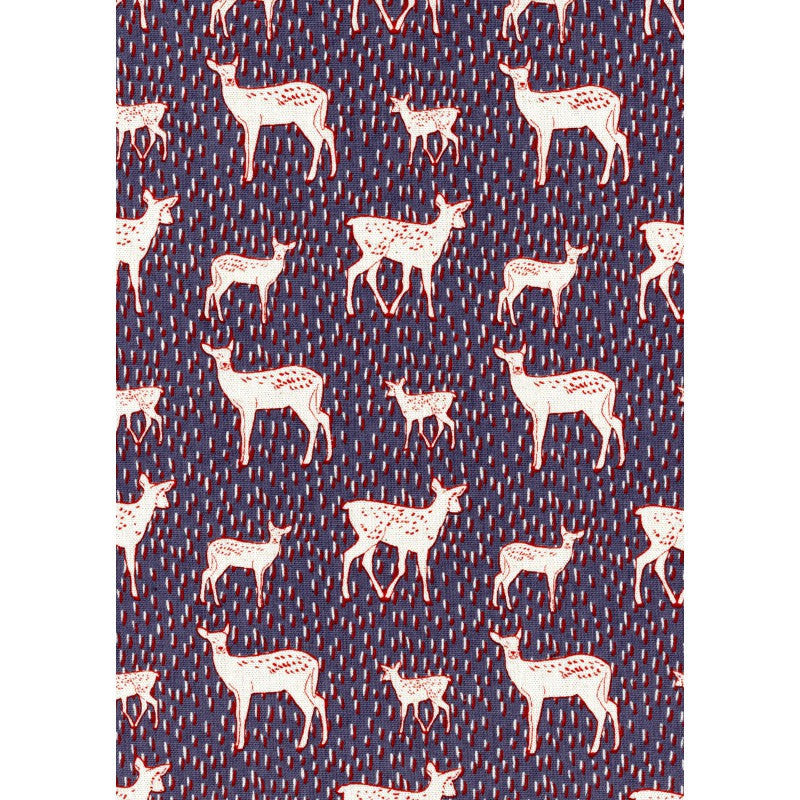 Deer on navy blue canvas from Kokka Fabric - view 2