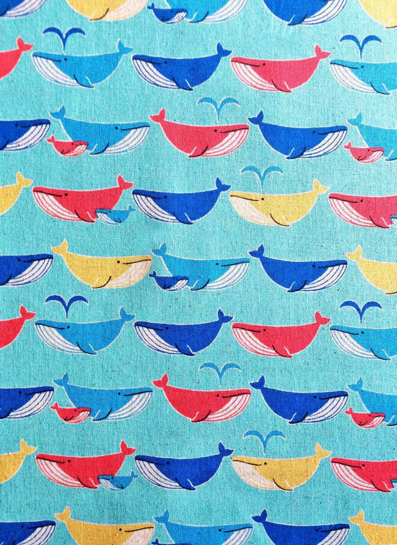 Whales on blue canvas from Kokka Fabrics - view 1