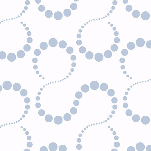 Silver metallic circles on white cotton from Andover Fabrics - view 1