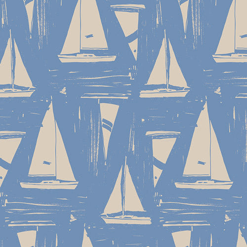 White sailboats on blue cotton from Art Gallery Fabrics - view 1