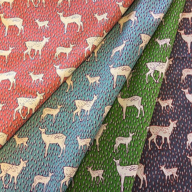 Deer on green canvas from Kokka Fabric - view 3