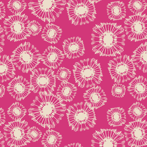 White dandelions on magenta cotton from Ary Gallery Fabrics - view 1