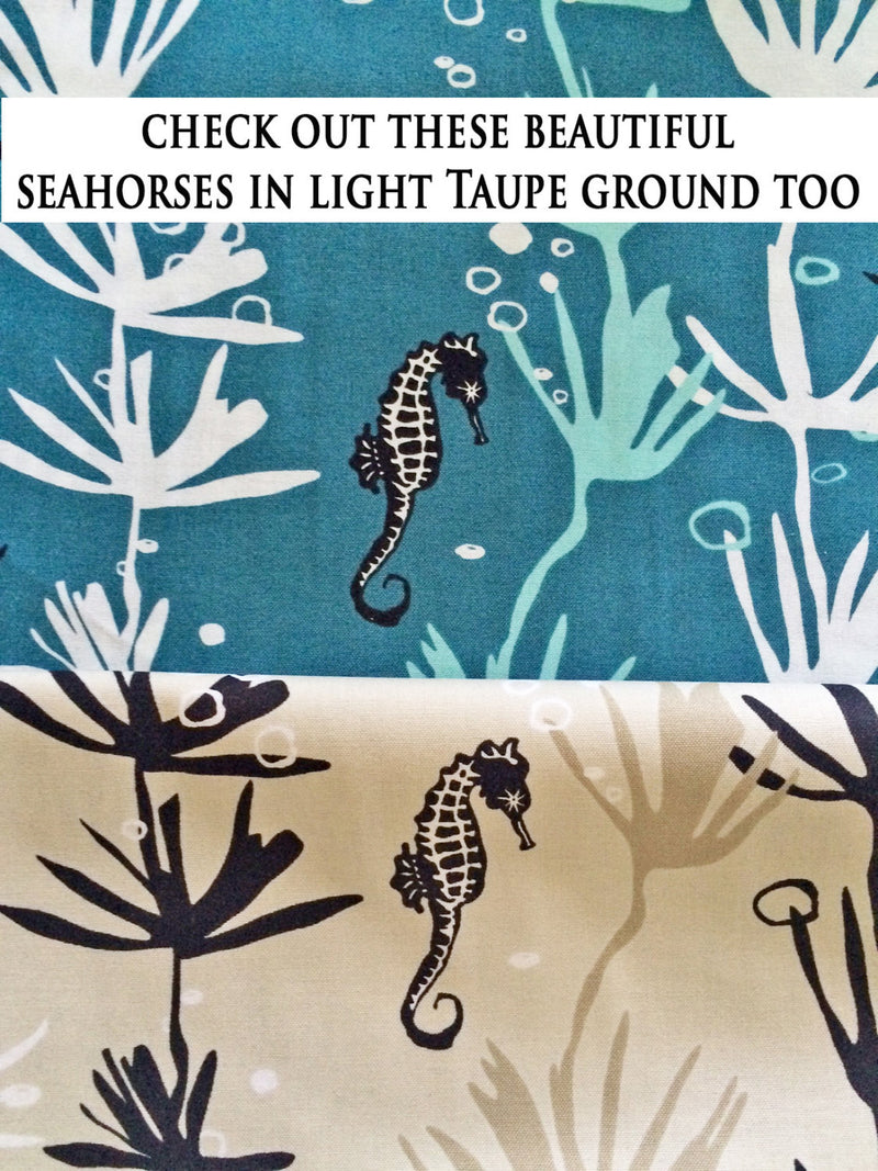Seahorses on blue cotton from Andover Fabrics - view 5