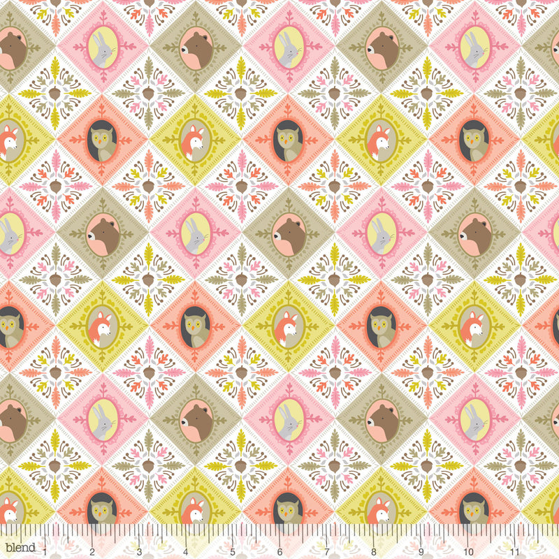 Forest animals on pink cotton from Blend Fabrics - view 1