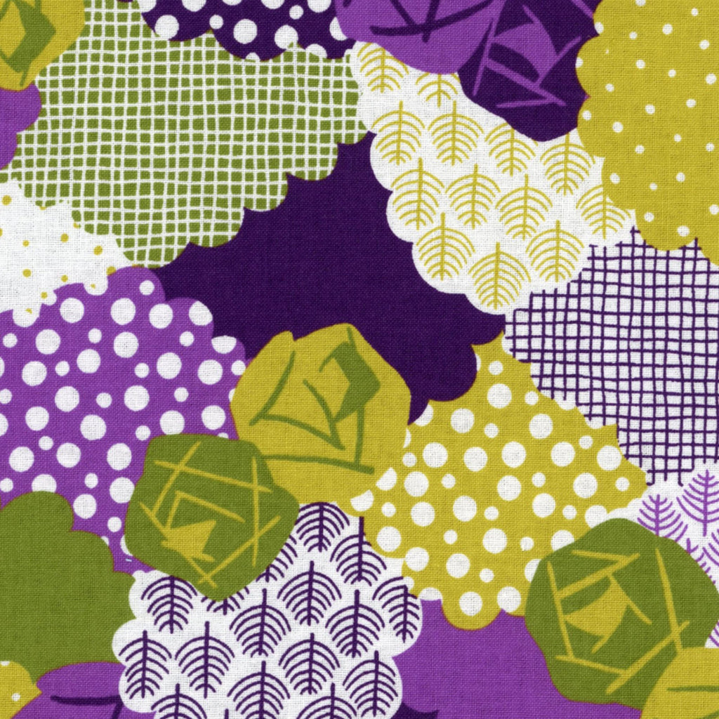 Purple and green floral on cotton from Kokka Fabrics - view 1