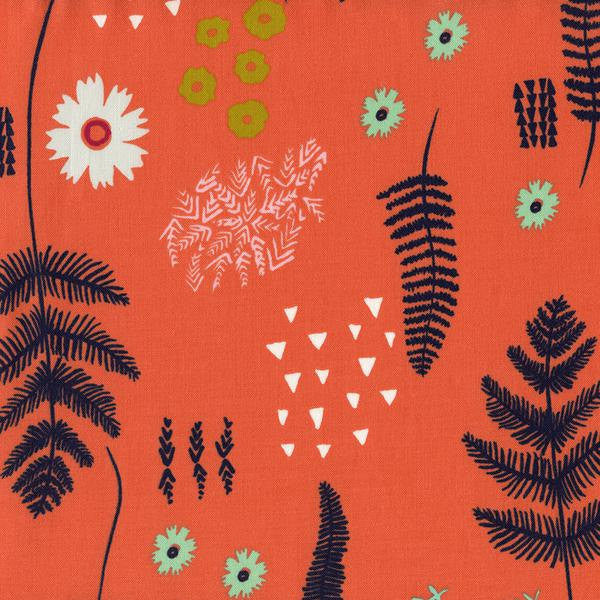 Flowers on coral orange cotton from Cotton and Steel Fabrics - view 1