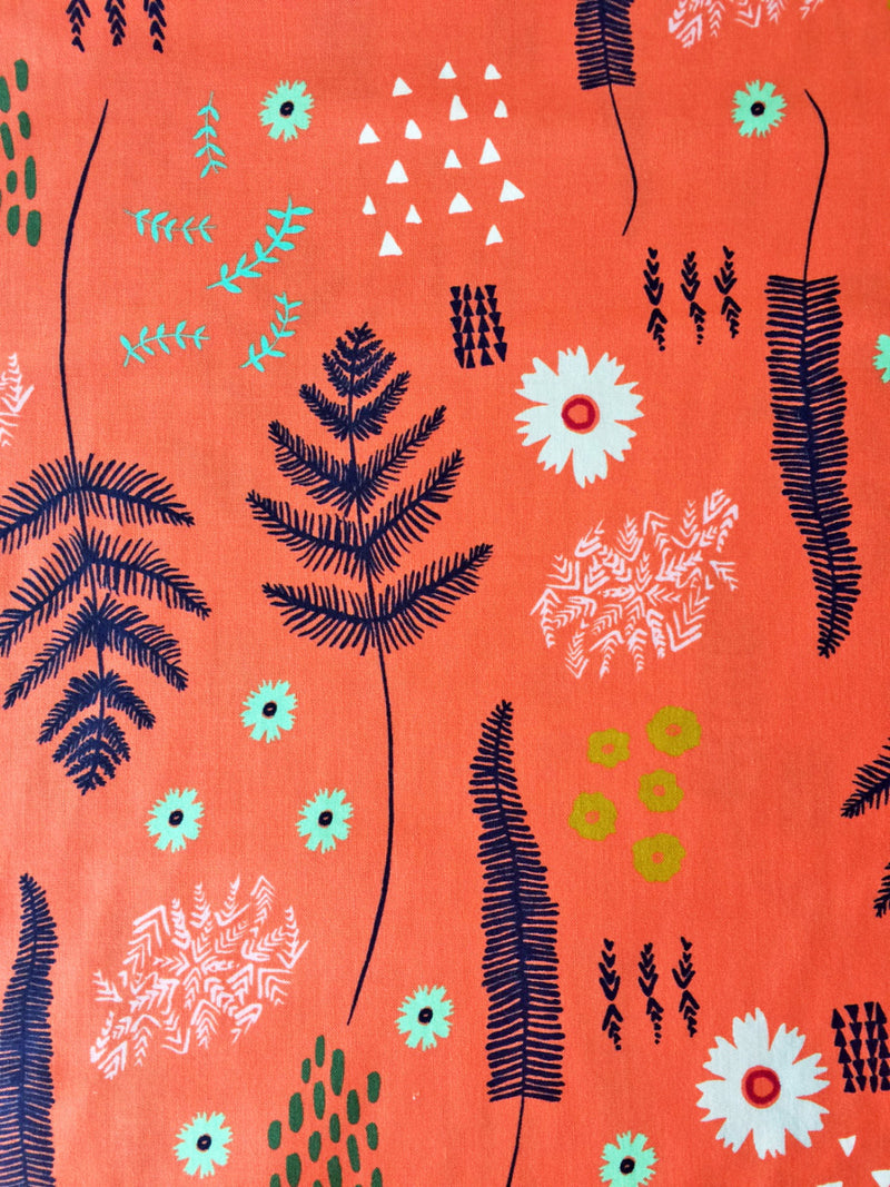 Flowers on coral orange cotton from Cotton and Steel Fabrics - view 3