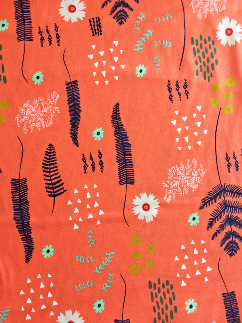 Flowers on coral orange cotton from Cotton and Steel Fabrics - view 4
